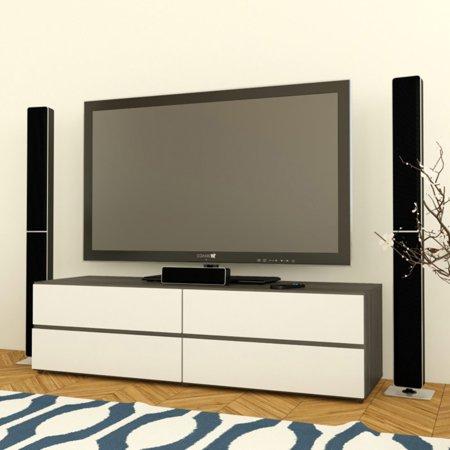 "Nexera Allure TV Stand for TVs up to 60"", White/Ebony"