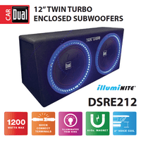 Dual Electronics DSRE212 12-inch illumiNITE High Performance Studio Enclosed Subwoofer with 1,200 Watts of Peak Power & 41-ounce Magnets