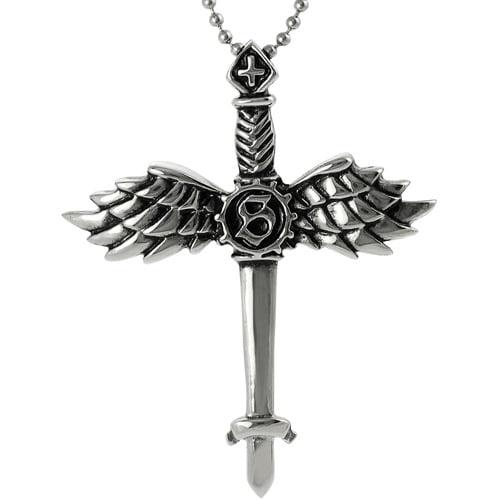 "Brinley Co. Stainless Steel Winged Sword Pendant, 20"""