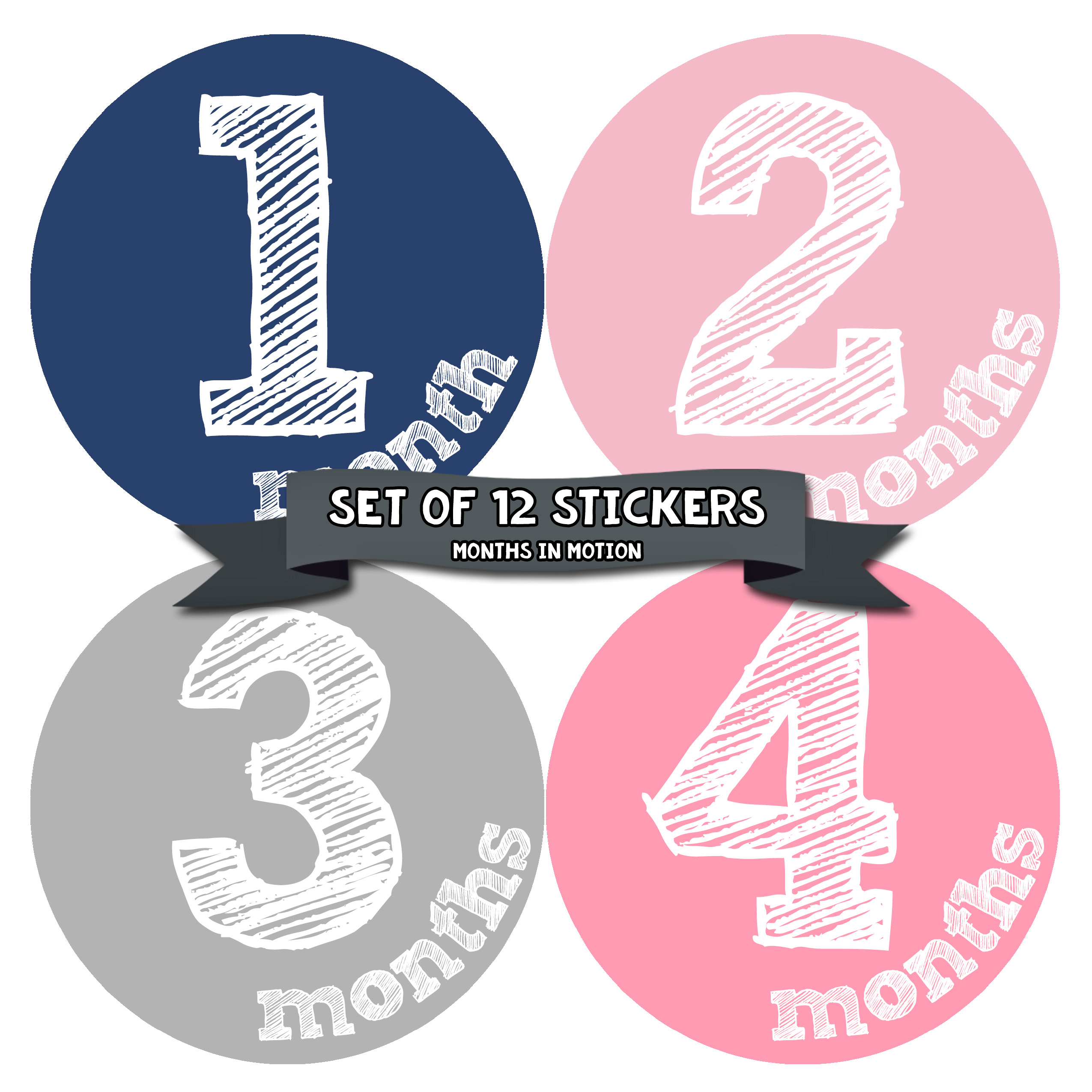 Monthly Baby Stickers by Months In Motion | 12 Month Milestone Sticker for Newborn Babies (Style 819)