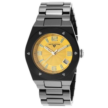 Swiss Legend 10054-Bkytsa Ceramic Throttle Lady 3H Black Cramic Yellow Dial Ceramic Watch