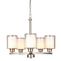 Design House 567198 Oslo Traditional 5-Light Indoor Dimmable Chandelier with Double Glass Shades for Entryway Foyer Dining Room, Satin Nickel