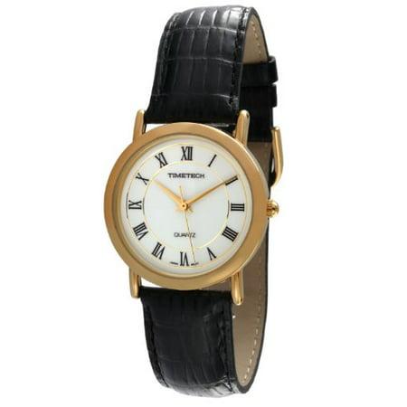 Timetech Men's Elegant 14K Gold Plated Roman Numeral Black Leather Band Dress Watch 2654M - Roman Dresses