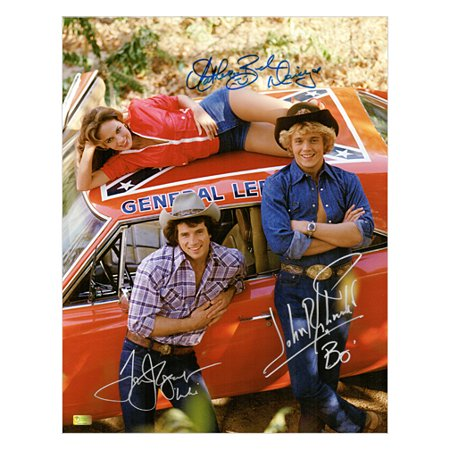 John Schneider, Tom Wopat and Catherine Bach Autographed 11?14 Dukes of Hazzard General Lee Photo