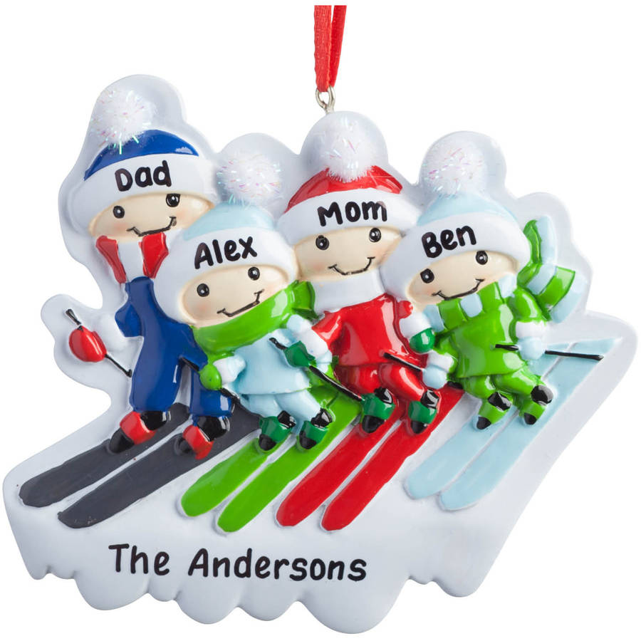 Ski Family Personalized Christmas Ornament, Assorted Family Size