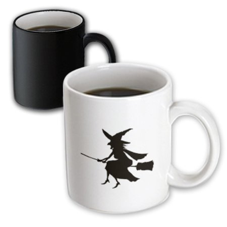 3dRose Witch on Broom Halloween Silhouette - Magic Transforming Mug, - Halloween Witch Silhouette