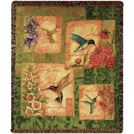 Manual Woodworkers & Weavers Wings and Blossoms Tapestry Cotton Throw