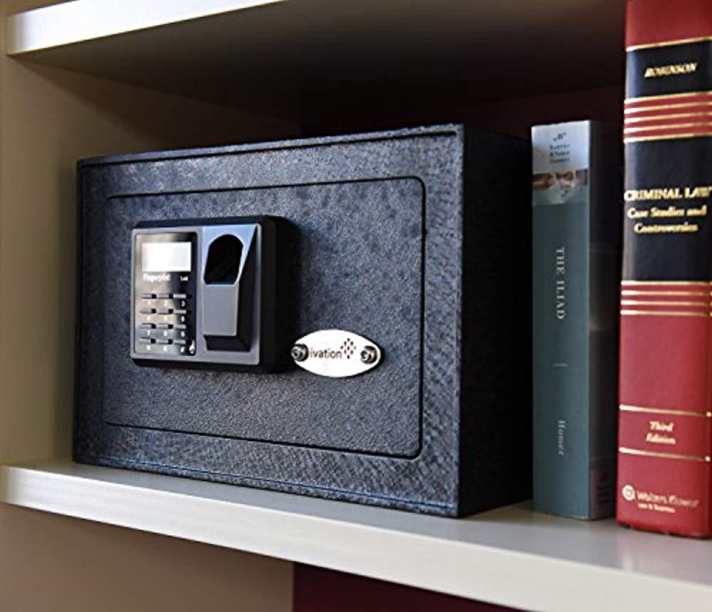 Home Digital Security Lock Box with Fingerprint Scanner Ivation Biometric Safe Backup Keys