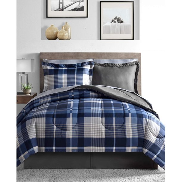 Blue Plaid Stripes Reversible Boys Teen, Blue Gray Bedding