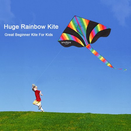 Ametoys Huge Rainbow Kite with 50m Line Delta Kite Easy to Assemble Great Beginner Kite for Kids Outdoor Games and Activities