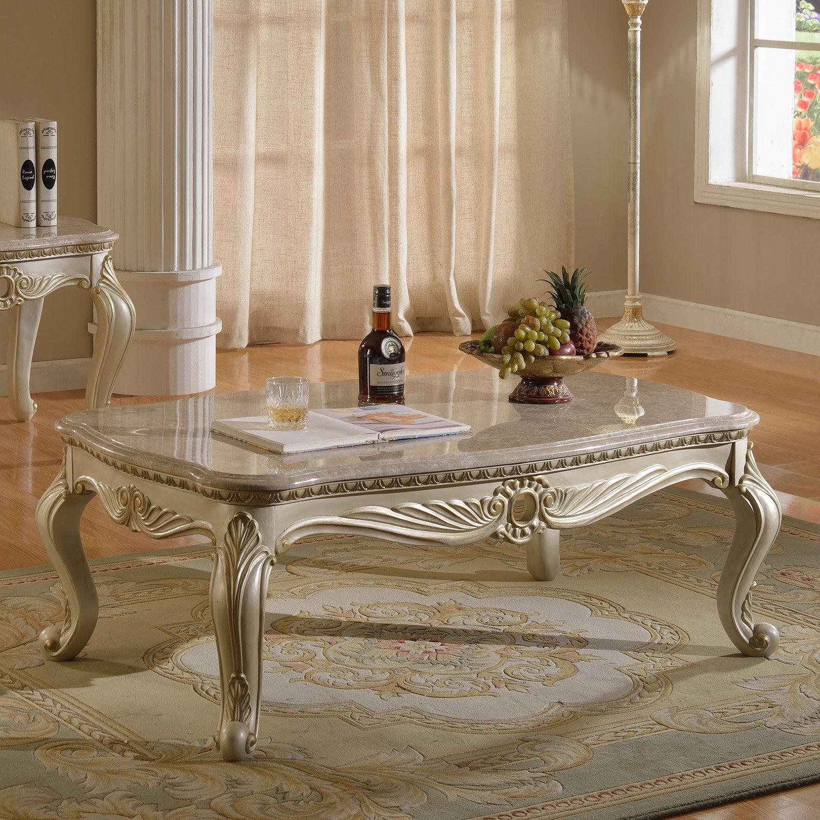 Meridian Furniture Marquee Rectangle Coffee Table Walmartcom - Genuine marble coffee table
