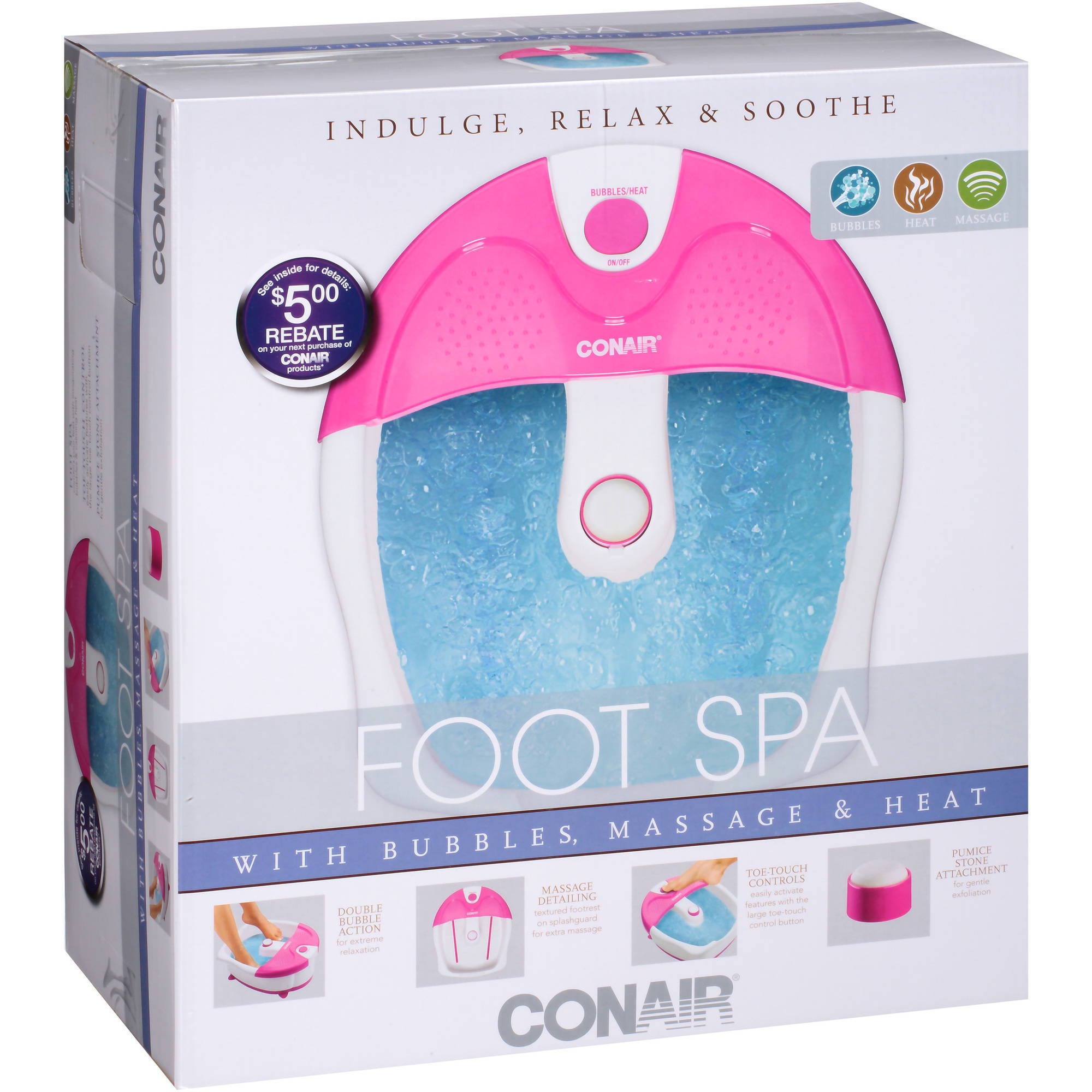 Conair Foot Spa with Bubbles, Massage & Heat, Pink - Walmart.com
