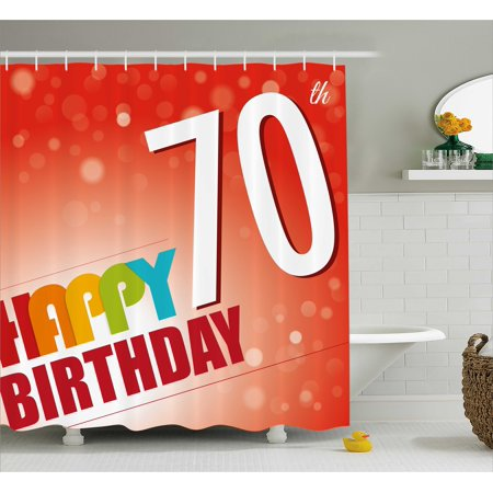 70th Birthday Decorations Shower Curtain Vivid Colored Abstract Backdrop Happy Slogan Image Fabric