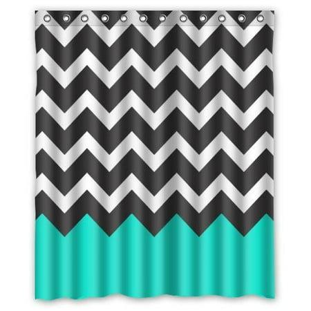 HelloDecor Chevron Turquoise Black White Shower Curtain Polyester Fabric Bathroom Decorative Curtain Size 60x72 (Black And White Chevron Shower Curtain Cheap)