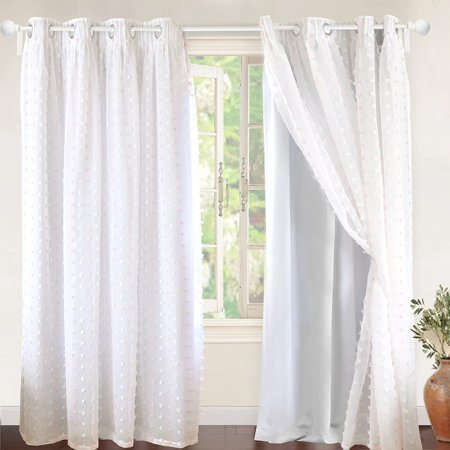 DriftAway Lily White Pinch Pleated Voile Sheer Blackout Curtain Liner Embroidered with Pom Pom One Panel Two Layers Grommet Curtain for Kids Nursery Room 52 Inch by 84 Inch Blackout Soft Pink White Drapery Lining