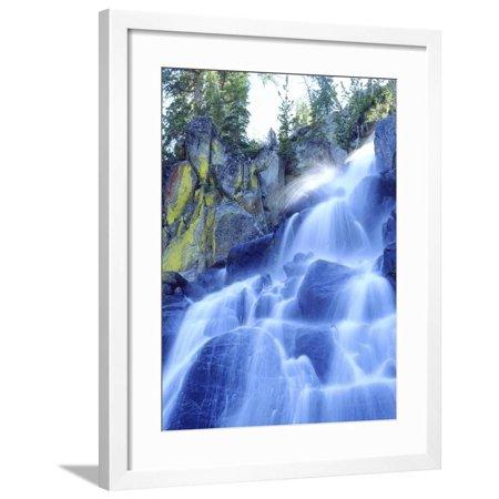 - Waterfall Cascades Past Lichen-Covered Rocks, Sierra Nevada Mountains, California, USA Framed Print Wall Art By Christopher Talbot Frank