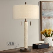 Franklin Iron Works Mid Century Modern Table Lamp with USB Port Wood Column Drum Shade for Living Room Bedroom Nightstand Family