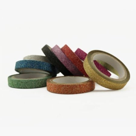 Assorted Colors Glitter Tape Scrapbooking DIY Skinny Thin Washi Tape 6mm, This set of 10 skinny glitter tapes adds that touch of sparkle without the messy glitter fallout.., By Valley Mall ()