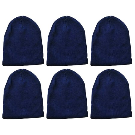 Yacht & Smith Kids Winter Beanie Hat Assorted Colors Bulk Pack Warm Acrylic Cap (6 Pack Royal - Bulk Hats