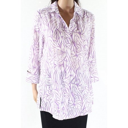 c5f34ebf777 Foxcroft Women Floral-Print Textured Button Down Shirt