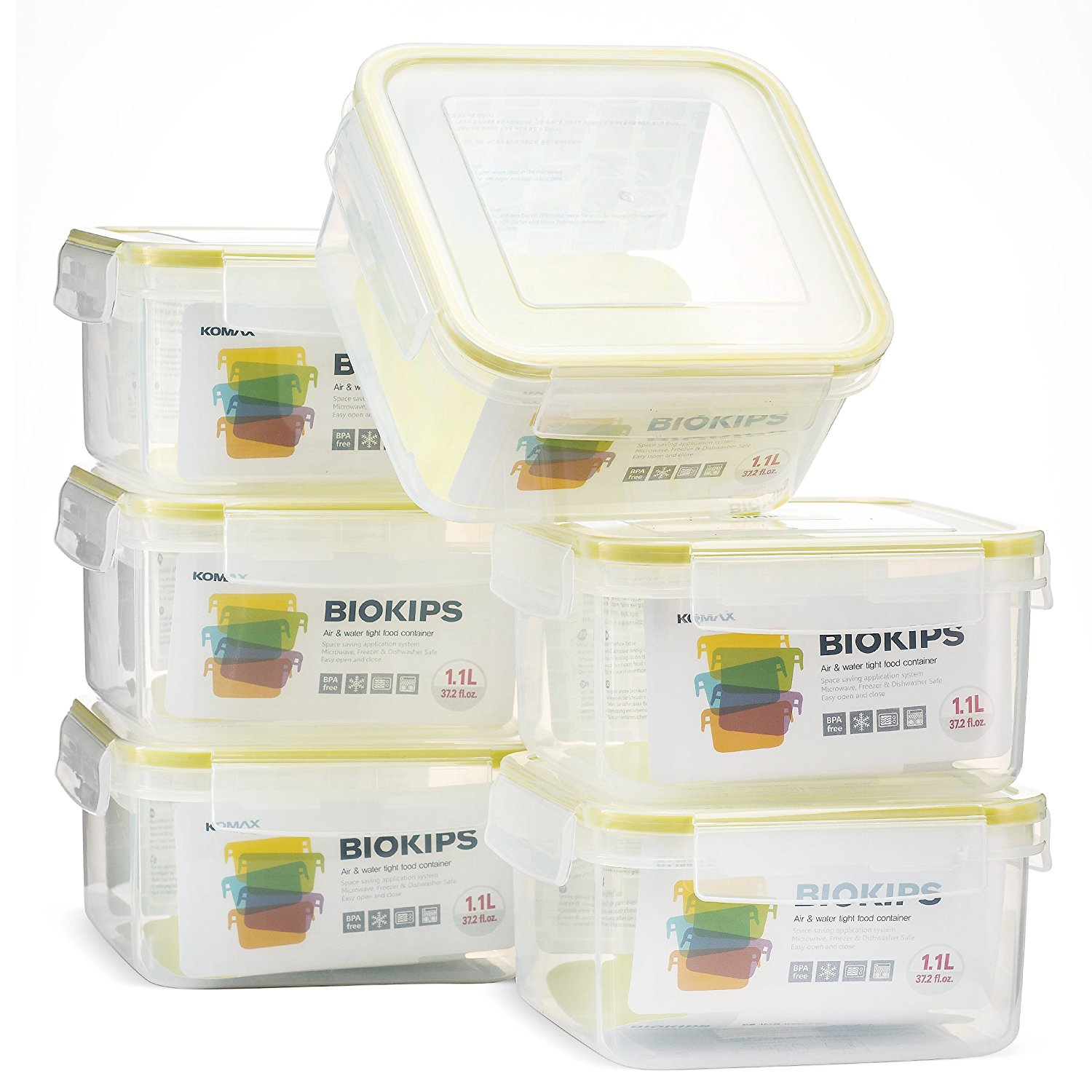 Komax Biokips Square Food Storage Container 37oz set of 6