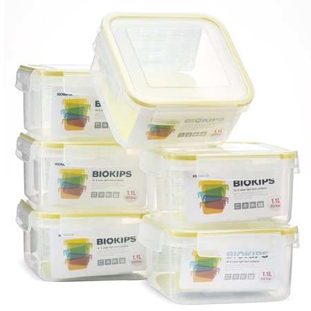 Komax Biokips Square Food Storage Container 37oz. (set of 6) - Airtight, Leakproof With Locking Lids - BPA Free Plastic - Microwave, Freezer and Dishwasher Safe - Compact Size &