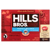 Hills Bros. Perfect Balance Half-Caffeine K-Cup Coffee Pods, Medium Roast, 12 Count Box