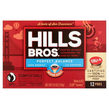 Hills Bros. Perfect Balance Half-Caffeine K-Cup Coffee Pods, Medium Roast, 12 Count Box (Hills Brothers Coffee K Cups)