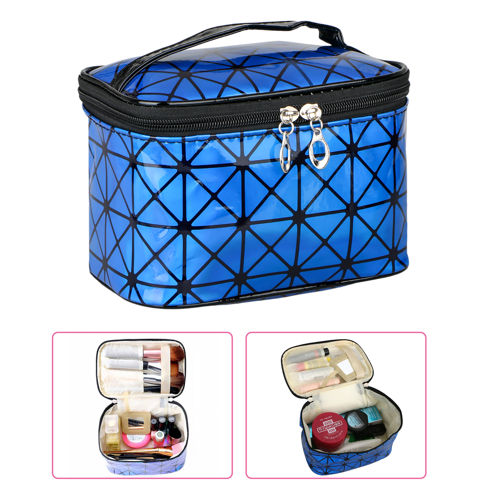 Travel Cosmetic Bag, Makeup Oil Case Pouch Jewelry Organizer for Women, Portable Multifunction Case Toiletry PU Leather Bags (Blue)
