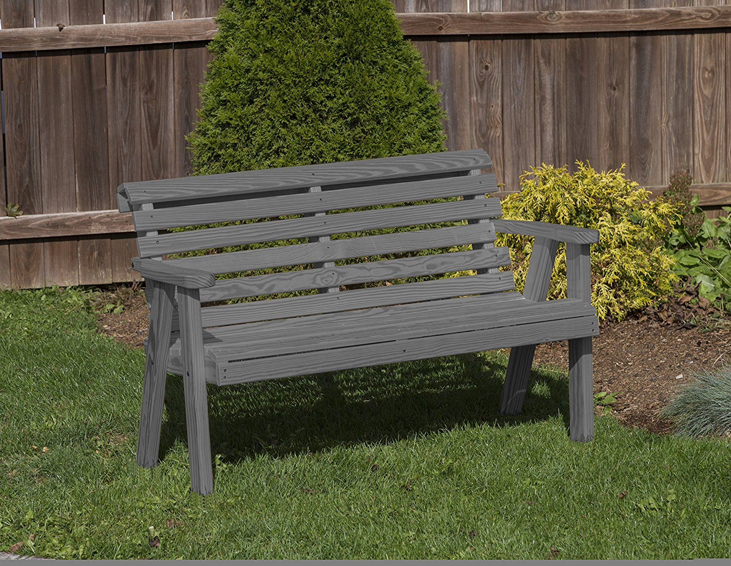 All weather furniture outdoor patio garden lawn exterior 5 ft gray finish amish heavy duty 800 lb roll back kiln dried pine bench walmart com