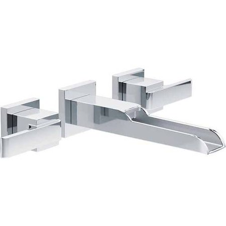 Delta Ara Two Handle Wall Mount Channel Bathroom Faucet Trim, Chrome Chrome Wall Mounted Bathroom Faucet