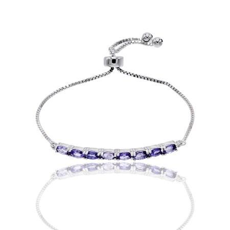 Sterling Silver Oval Genuine Tanzanite Adjustable Slider  Bolo Bracelet by JCL Design