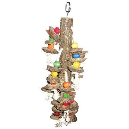 A and E Cage Co. Cylinder and Wood Bird Toy