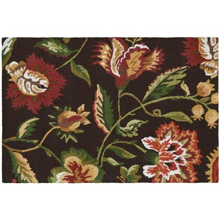 Rug Jacobean Floral Flowers 36x24 Brown Brown/Beige/Tan Wool Yarns New Ha JK-435