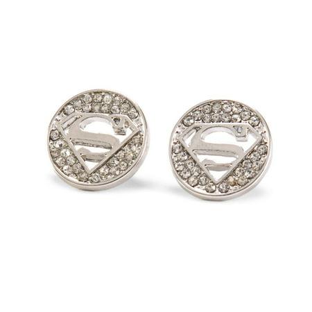DC Comics Superman Logo Rhinestone Cut Out (Silver Pink Rhinestone Earrings)