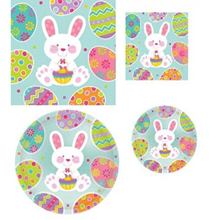 Maven Gifts: Metallic Easter 19 inch Plates with 17 inch plates and Beverage and Luncheon - Plates And Napkins