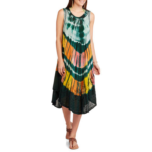 In Gear Women's Swim Tie Dye Umbrella Cover-Up Dress
