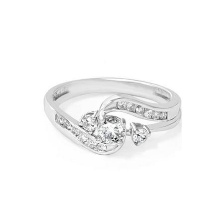 - 1/2ct Twist Diamond Engagement Wedding Ring Set 14K White Gold