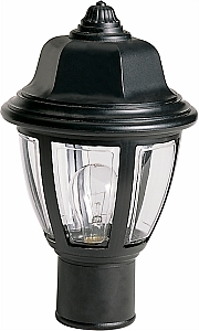 """Nuvo Lighting 77 806 Single Light 14"""" Hex Dome Post Lantern with Clear Acrylic P by"""
