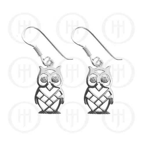Doma Jewellery MAS06252 Sterling Silver - Owl CZ Dangle Earrings -ER-1055