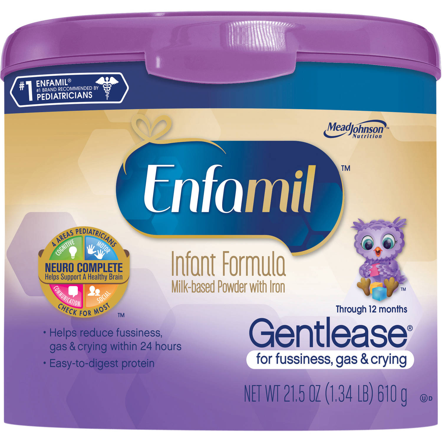 Enfamil Gentlease baby formula ��� 21.5 oz Powder in Reusable Tub