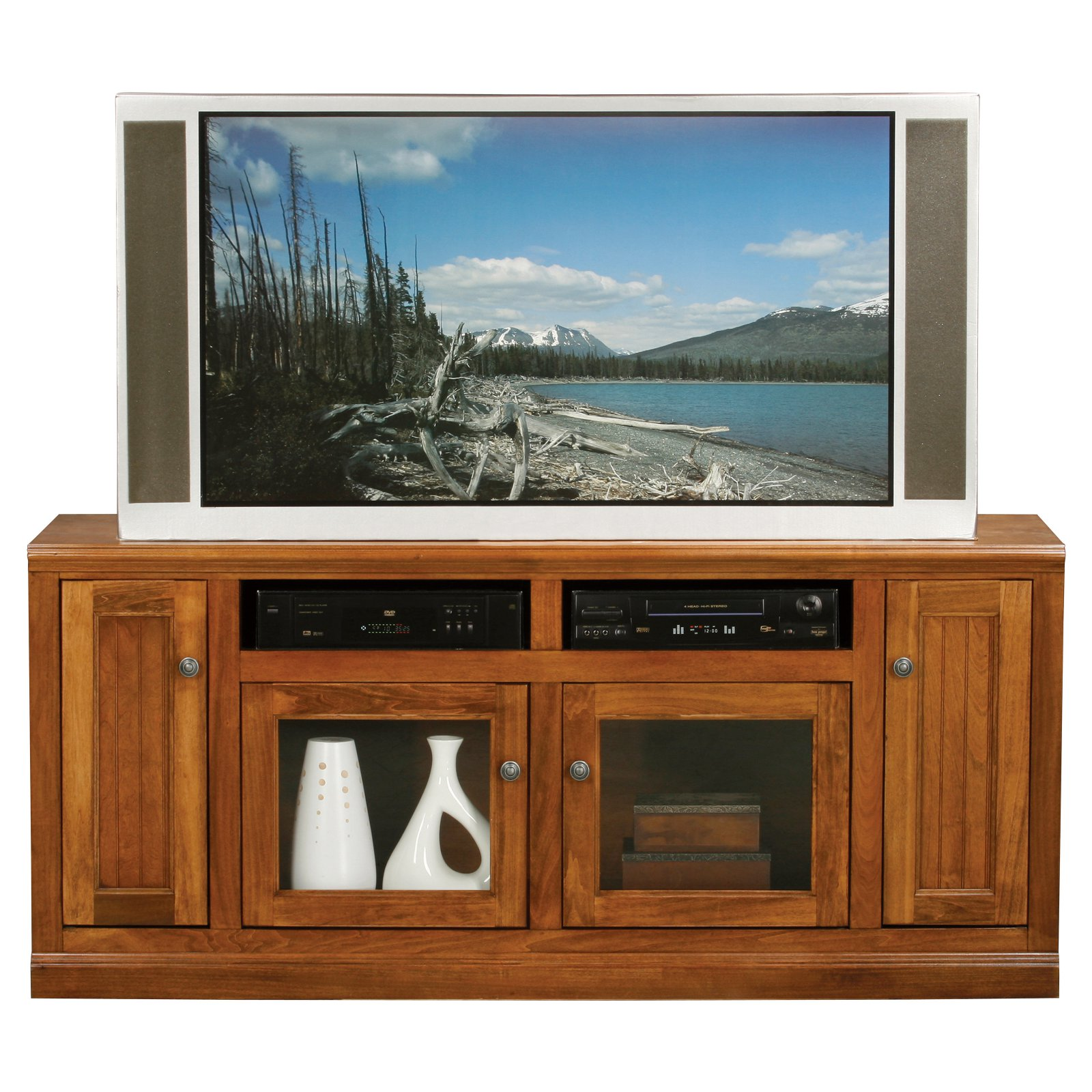 Eagle Furniture Coastal 66 in. Plain Glass Entertainment Center
