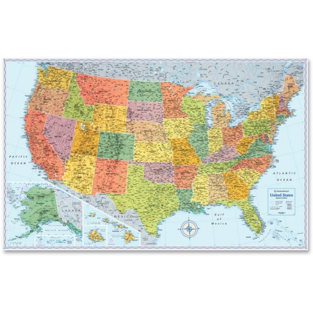 Rand Mcnally U S  Physical Political Map  Dry Erase  Single Roller Mounted  50 X 32