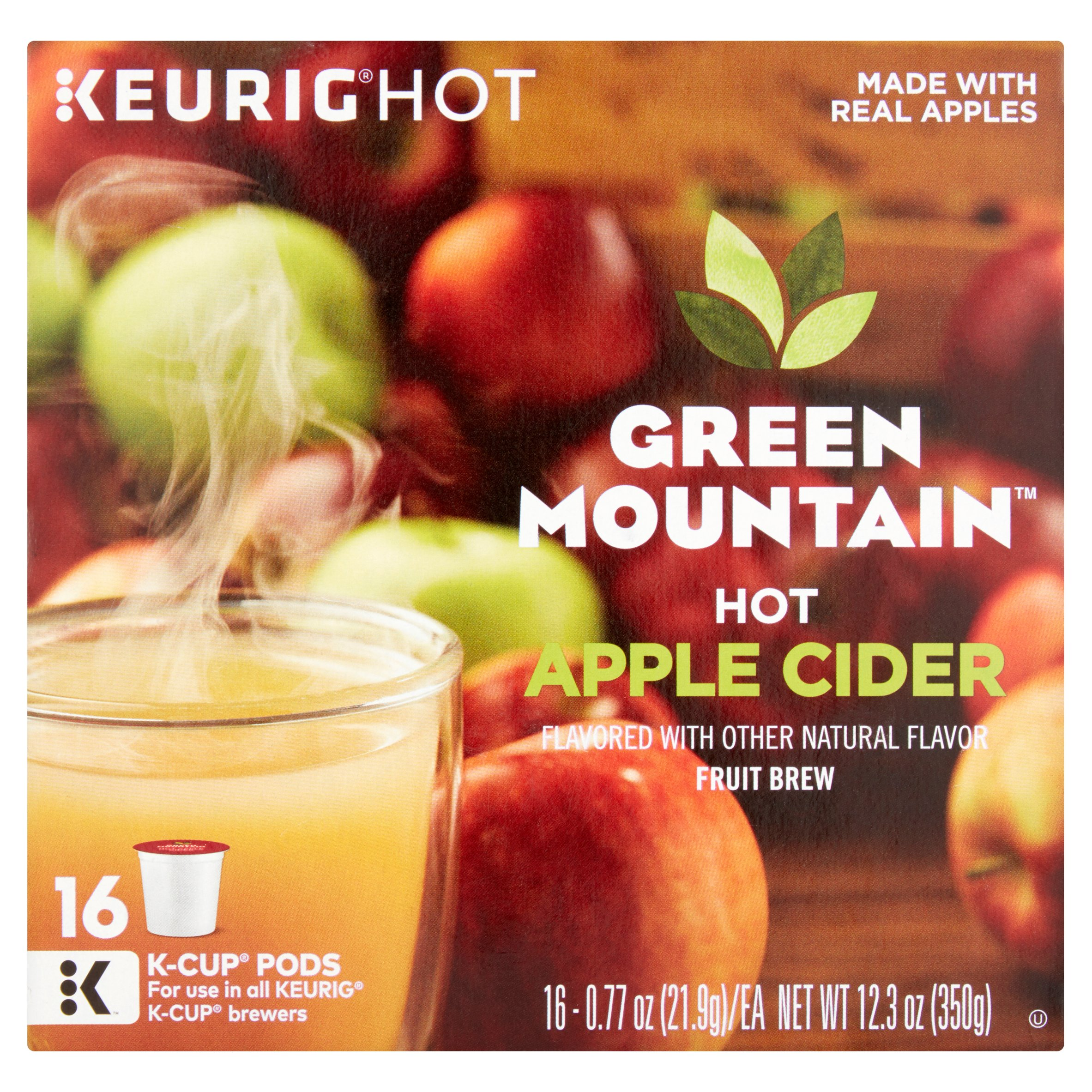 Keurig Hot Green Mountain Hot Apple Cider Fruit Brew K-Cup Pods, 0.77 oz, 16 count