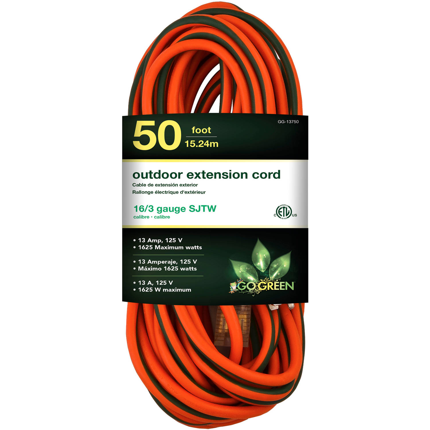 GoGreen Power 16/3 50' 13750 Heavy Duty Extension Cord, Lighted End