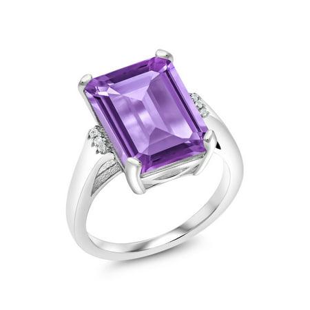 7.07 Ct Emerald Cut Purple Amethyst 925 Sterling Silver Ring
