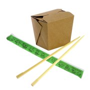 [50 Each] Chinese Take Out Box 16 oz and Wooden Chopsticks with Animal Zodiac Wrapper 9 Inches - Kraft Brown Grease Resistant Food Paper Container and Premium Disposable Bamboo Sticks for Asian Food