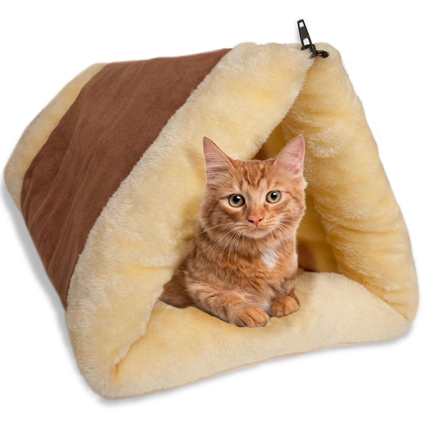 OxGord 2-in-1 Dog & Cat Tunnel Fleece Tube Indoor Cushion Mat Pyramid Pet Bed