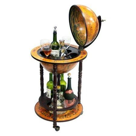 16th century italian style 17 5 in diam floor globe bar for 16 inch floor old world bar globe cart