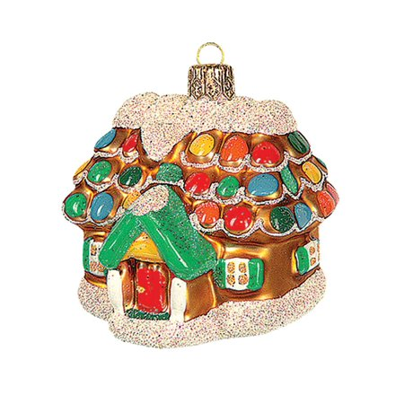 Gingerbread Cottage House Polish Glass Christmas Ornament  Tree - Gingerbread Decorations
